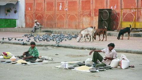 JAIPUR, INDIA - APRIL, 2013: Street vendors Footage