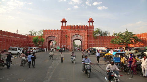 JAIPUR, INDIA - APRIL, 2013: Everyday traffic scen Stock Video Footage