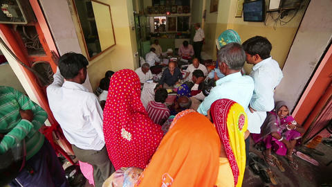 JAIPUR, INDIA - APRIL, 2013: Local people buying j Stock Video Footage