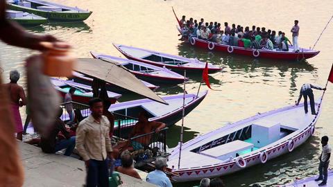 VARANASI, INDIA - MAY 2013: Everyday scene by Gang Stock Video Footage