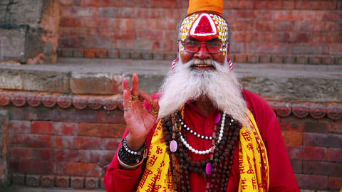 KATHMANDU, NEPAL - JUNE 2013: Sadhu People, tradit Stock Video Footage