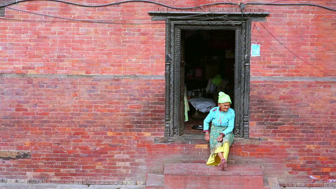 KATHMANDU, NEPAL - JUNE 2013: Nepalese Woman With  stock footage