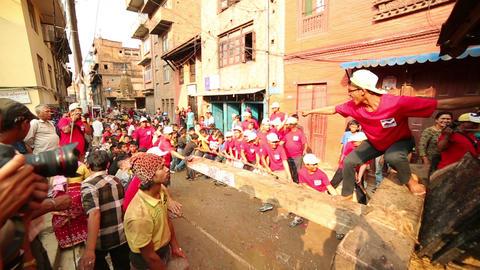 KATHMANDU, NEPAL - JUNE 2013: Chariot of the Rain Stock Video Footage