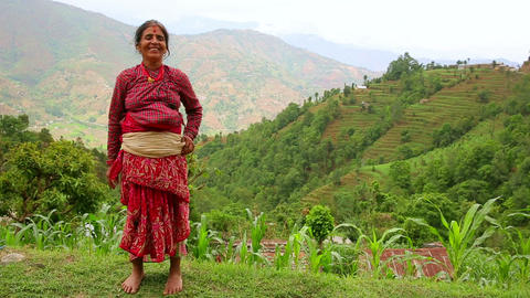 NAGARKOT, NEPAL - JUNE 2013: Nepali vilager at her Stock Video Footage