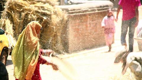 KATHMANDU, NEPAL - JUNE 2013: local woman sieving, Stock Video Footage