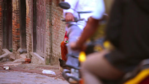 KATHMANDU, NEPAL - JUNE 2013: everyday life at bha Footage