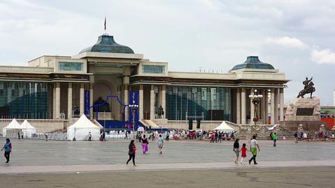 ULAANBAATAR, MONGOLIA - JULY 2013: View of Sukhbaa Stock Video Footage