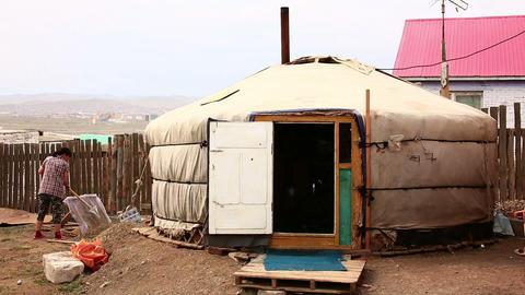 ULAANBAATAR, MONGOLIA - JULY 2013: Mongolian Ger a Stock Video Footage