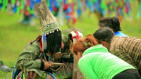 ULAANBAATAR, MONGOLIA - JULY 2013: People at shama Stock Video Footage