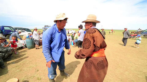 MONGOLIA - JULY 2013: Mongolian people celebrating Stock Video Footage