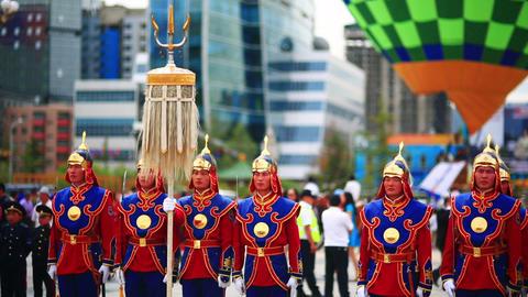 ULAANBAATAR, MONGOLIA - JULY 2013: Mongolian Army Stock Video Footage