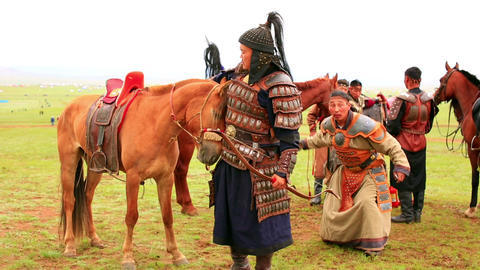 ULAANBAATAR, MONGOLIA - JULY 2013: Naadam Festival Stock Video Footage