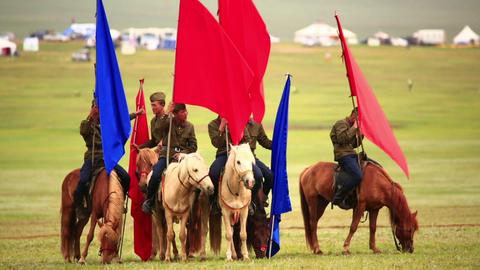 ULAANBAATAR, MONGOLIA - JULY 2013: Mongolian Caval Footage