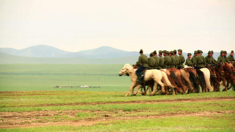 ULAANBAATAR, MONGOLIA - JULY 2013: Mongolian Caval Stock Video Footage