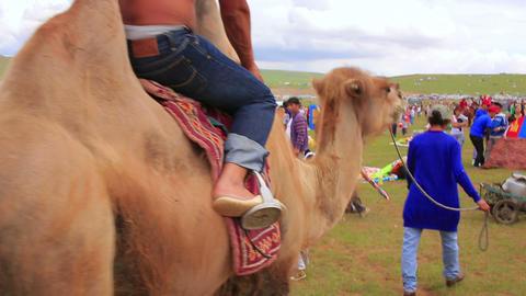 ULAANBAATAR, MONGOLIA - JULY 2013: Colorful crowd Stock Video Footage