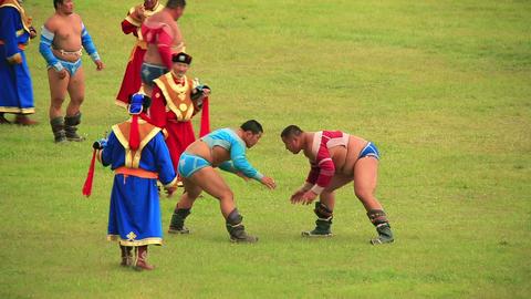 ULAANBAATAR, MONGOLIA - JULY 2013: Wrestling Tourn Stock Video Footage