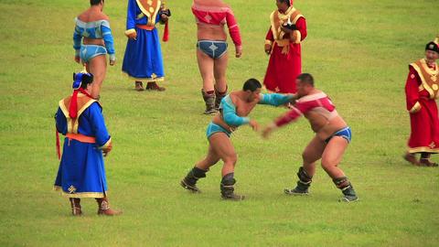 ULAANBAATAR, MONGOLIA - JULY 2013: Wrestling Tourn Footage