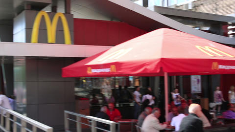 MOSCOW, RUSSIA - JUNE 2013: First McDonald's resta Stock Video Footage