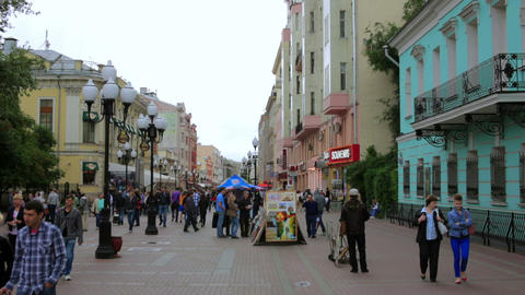 MOSCOW, RUSSIA - JULY 2013: Daily life at arbat st Footage