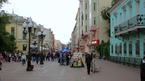 MOSCOW, RUSSIA - JULY 2013: Daily life at arbat st Stock Video Footage