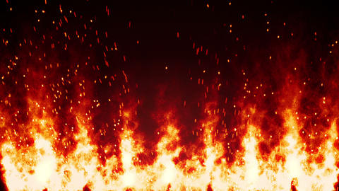 flaming fire wall and sparks loopable background Animation