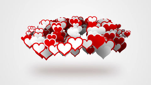 Red White Heart Shapes Loopable Background stock footage
