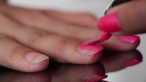 Nail Polish Painting Macro stock footage