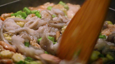 cooking seafood and vegetables close-up sequence Stock Video Footage