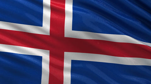 Flag of Iceland seamless loop Animation