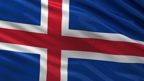 Flag of Iceland seamless loop Animation