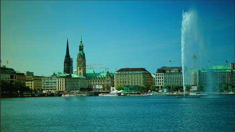 Alster Lake, Hamburg, Germany, time lapse, 4k Footage