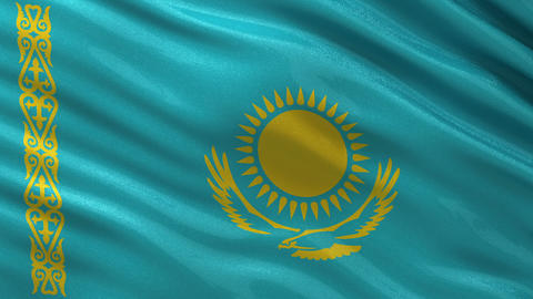 Flag of Kazakhstan seamless loop Animation
