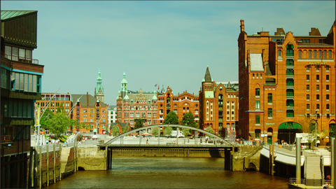 Hafencity Hamburg,time lapse Stock Video Footage