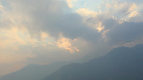 Timelapse sunset at the airport Lukla. Mountains H Footage