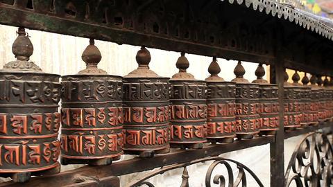 Buddhist prayer wheels. Swayambhunath Stupa, Kathm Footage