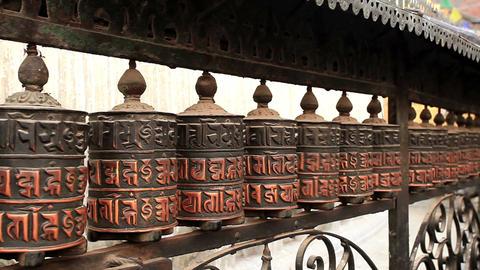 Buddhist prayer wheels. Swayambhunath Stupa, Kathm Stock Video Footage