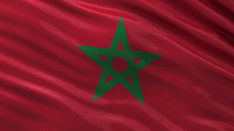Flag of Morocco seamless loop Stock Video Footage