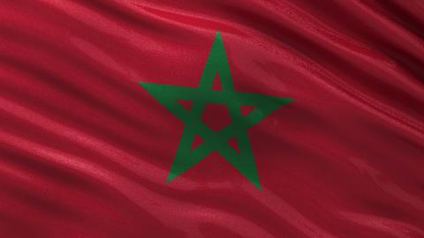 Flag of Morocco seamless loop Animation