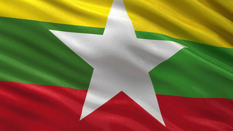 Flag of Myanmar (Burma) seamless loop Animation