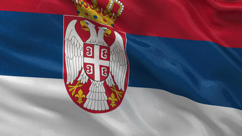 Flag of Serbia seamless loop Stock Video Footage