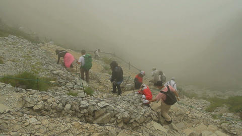 Hiking trails within the fog Stock Video Footage