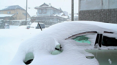 Cars covered with snow Footage