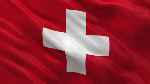 Flag of Switzerland seamless loop Stock Video Footage