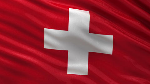 Flag of Switzerland seamless loop Animation