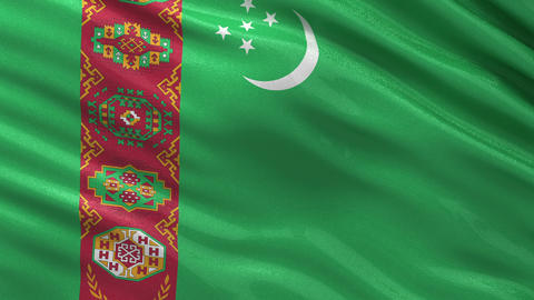 Flag of Turkmenistan seamless loop Animation