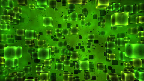 Abstract Cubes Animation - Loop Green Animation