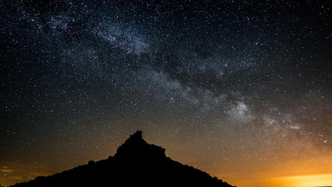 4k UHD Milky Way Over Table Mountain Pan Tilt 1136 stock footage