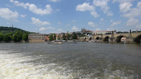 boat traffic charles bridge prague castle 11371 Stock Video Footage