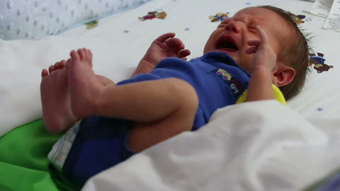 Newborn baby crying Footage