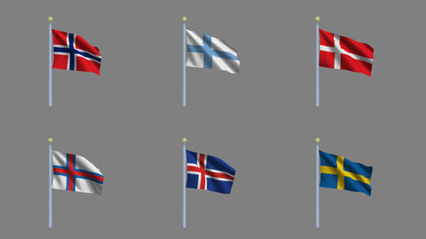 Flags Set 03 Stock Video Footage